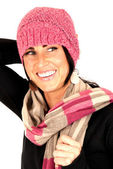 Beautiful female smiling big wearing pint knit hat and scarf — Photo