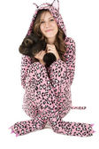 Beautiful female model in pink leopard pajamas — Stock Photo