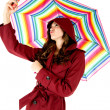 Attractive woman in red raincoat taking a selfie picture while holding a colorful umbrella — Stock Photo #42677265