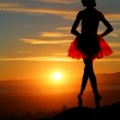 Young ballerina on a mountain overlooking a beautiful sunset — Stock Photo #45118039
