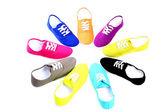 New colorful canvas shoes in a circular design — Foto de Stock