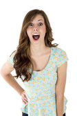 Attractive brunette female model with an astonished look and mou — Stock Photo