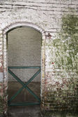Aged brick wall and doorway with a green gate — Stock Photo