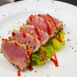 Tuna fillet decorated with salad — Stok fotoğraf