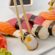 Sushi nigiri salmon tuna eel and shrimp — Stock Photo #32991817