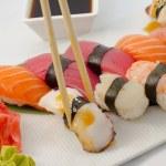 Sushi nigiri salmon tuna eel and shrimp — Stock Photo #32991817