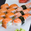 Philadelphia sushi roll with shrimp nigiri — Stock Photo
