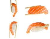 Isolated collage salmon sushi nigiri in chopsticks on white background — Stock Photo