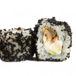 Sushi roll with black caviar isolated on white background — Stock Photo