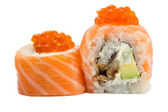 Salmon sushi roll with caviar isolated on white background — Stock Photo