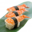 Shrimp sushi nigiri on wooden plate — Foto Stock