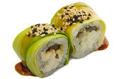 Sushi roll with avocado isolated on white background — Stock Photo