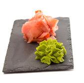 Ginger and wasabi isolated on white background — Stock Photo