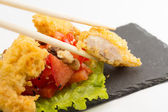 Fried chicken fillet with vegetables isolated — Stock Photo