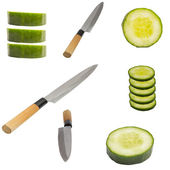 Cucumber and knife isolated on white background — Stock Photo