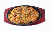 : Japanese Cuisine - Fried Rice with Vegetables and Chicken background — Stock Photo