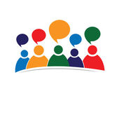 Abtsract concept of people metting. Talking. Social media. — Stock Vector