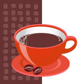 Red cup of coffe with cofe beans — Stock Vector