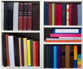 Books on a white shelf — Stock Photo