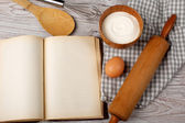 Cooking concept. Ingredients and kitchen tools with the old blan — Stockfoto