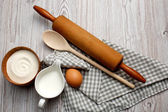 Cooking concept. Ingredients and kitchen tools — Stock Photo