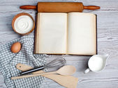 Cooking concept. Ingredients and kitchen tools with the old blan — Stock Photo