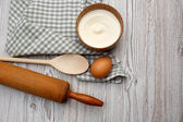 Cooking concept. Ingredients and kitchen tools — Stock fotografie