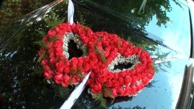 Wedding car decoration — Stock Video