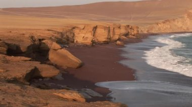 Coastline in the Paracas national parc — Stock Video