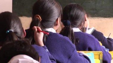 School students in classroom — Stock Video