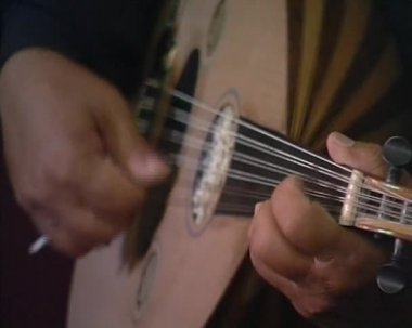 Playing on guitar — Stock Video