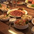 Stock Video: Buffet items
