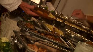 Buffet items — Stock Video