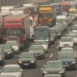 Stock Video: COLOGNE - APRIL 04: Congestion on highway in Germany near by cologne on autobahn A3 on April 4, 2012
