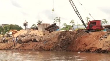 Timber Industry At Amazon River — Stock Video