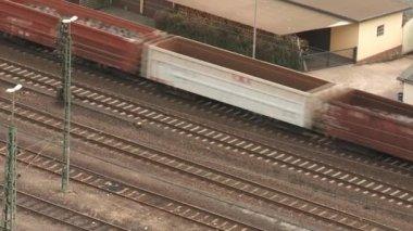 Train near river Rhein — Stock Video