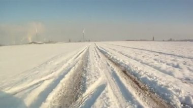 Driving in snow landscape — Vídeo Stock