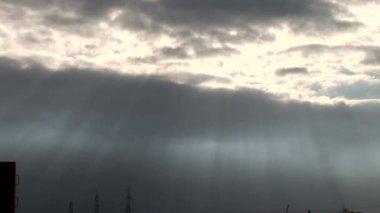 Dark clouds over a construction site — Vídeo de Stock