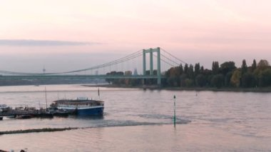 Cologne with the river Rhine in Germany — Stock Video