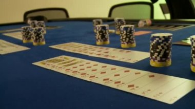 Casino chips and cards — Stock Video