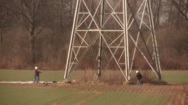 Working people on a Power Pole — Stock Video