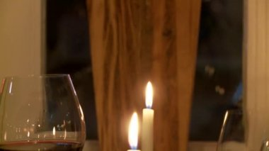 Wine and candles — Stock Video