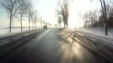 Driving in snow landscape — Stock Video