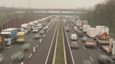COLOGNE - APRIL 04: Congestion on a highway in germany near by cologne on the autobahn A3 on April 4, 2012 — Stock Video
