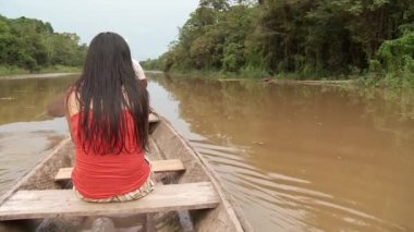 Woman Shipping On Amazon River — Stock Video