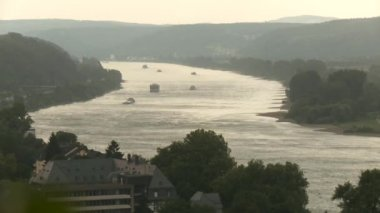 Rhein in Germany with ships — Stock Video