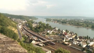 Train near river Rhein — Stockvideo