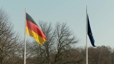 Flags of Germany and EU — Stock Video