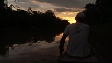 Paddeling With Canoe On Amazon River — Stock Video