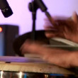 Young man playing drums — Stock Video
